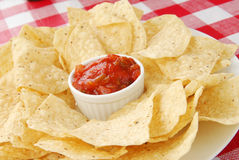 Plate of tortilla chips and tortillas Royalty Free Stock Image
