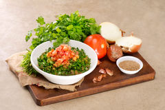 Plate of traditional Arabic salad tabbouleh Royalty Free Stock Images