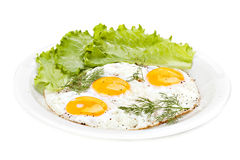 Plate of traditional breakfast with fried eggs Royalty Free Stock Photography