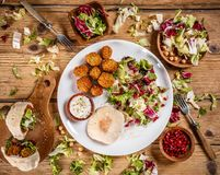 Plate of traditional falafel patties Stock Photos