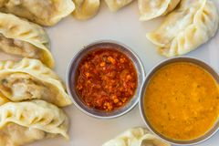Plate of traditional momos. royalty free stock photo