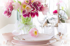 Plate and tulips decoration Royalty Free Stock Photography