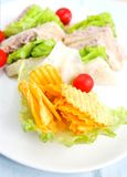 Plate of tuna sandwich with salad Royalty Free Stock Images
