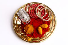 Plate with Turmeric & kumkum powder Royalty Free Stock Photo