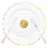 Plate and twenty euro cent. Dish with cutlery and 20 euro cent coin Stock Images