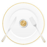 Plate and two euro coin Royalty Free Stock Photo