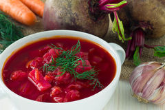 The plate of the Ukrainian borsch Stock Images