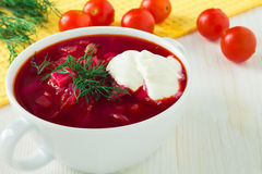 The plate of the Ukrainian borsch Royalty Free Stock Photo