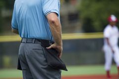 Plate umpire on baseball field, copy space royalty free stock photo