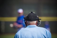 Plate umpire on baseball field, copy space royalty free stock images