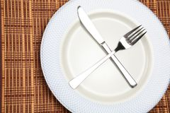 A Plate with Utensils Stock Images