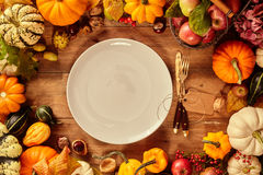 Plate and utensils with tag surrounded by gourds. Of various sizes and types for thanksgiving dinner concept stock photos