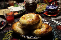 Plate with uzbek bread Stock Photography