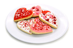 Plate of Valentines Day cookies Royalty Free Stock Photography