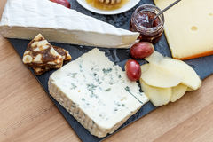 Plate with various french cheeses Stock Image