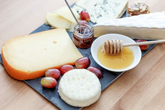 Plate with various french cheeses Stock Photo