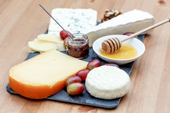 Plate with various french cheeses Royalty Free Stock Photo