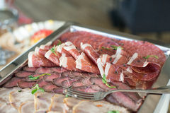 Plate with various kinds of meat. salami Royalty Free Stock Image
