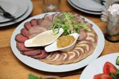 Plate with various meat Royalty Free Stock Images