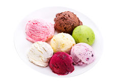 Plate of various scoops of ice cream Stock Photo