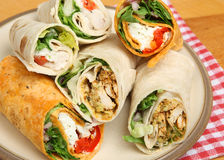 Plate of Various Wrap Sandwiches Stock Photos