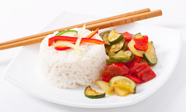 Plate of vegetable fried rice Stock Image