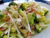 Fresh broccoli, kohlrabi, leek and salmon salad royalty free stock image