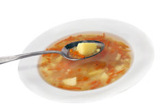 Plate of vegetable soup Stock Photography
