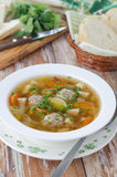 Plate of vegetable soup with meatballs Royalty Free Stock Photos