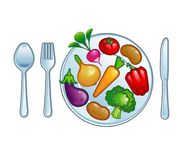 Plate with vegetables. Illustration plate with vegetables icon Royalty Free Stock Photos