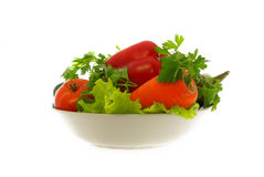 Plate with vegetables. On white background Stock Photo