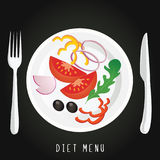A plate with the vegetables on a black background. Salad concept of diet, nutrition, healthy lifestyles  diet Vector design for diet menu, cafe, restaurant Royalty Free Illustration