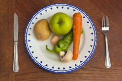 Plate  with Vegetables and Fruits Stock Photography