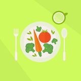 Plate with vegetables and glass of juice on a table. Vegetarian food concept Stock Image