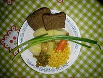 Plate with vegetables stock images