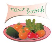 Plate with vegetables. Plate with tomatoes, green peppers, radishes and a panel with the message: raw food vector illustration