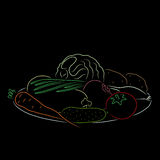 A plate with vegetables, vector illustration. A plate with vegetables  on a black background. Colored outline. Hand drawn sketch. Art vector illustration for Royalty Free Stock Photo