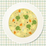 Plate of vegetarian broccoli soup on the table. View from above Royalty Free Stock Photo