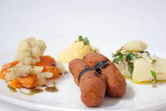 Plate of vegetarian food. With celery, carrots, alga, fried pancakes, cauliflower, potatoes and parsley Stock Image