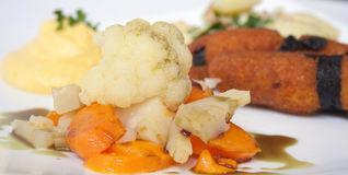 Plate of vegetarian food. Plate of cooked vegetarian food with carrots, cauliflowers, celery, alga, potatoes and pancakes Stock Images