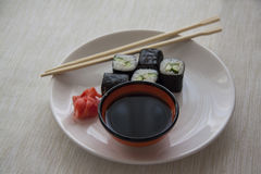 Plate of vegetarian rolls Royalty Free Stock Image