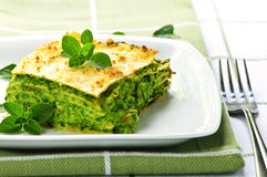 Plate of vegeterian lasagna Royalty Free Stock Image