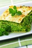 Plate of vegeterian lasagna Stock Photos