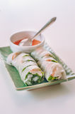 A plate of Vietnamese spring rolls with chili sauce Royalty Free Stock Images