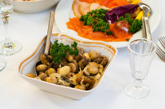 Plate with vinegar pickled mushrooms Royalty Free Stock Photo