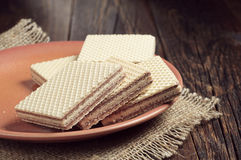 Plate with wafers Stock Photography