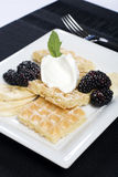 Plate of waffles bananas and blackberries Royalty Free Stock Images