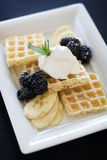 Plate of waffles bananas and blackberries Royalty Free Stock Photo