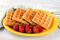 Plate of Waffles and Strawberries Stock Photo