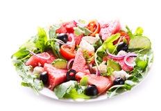 Plate of watermelon salad Stock Images